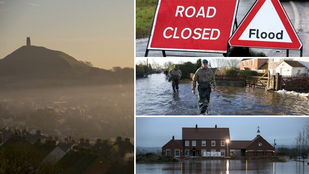 Montage of flooded Somerset