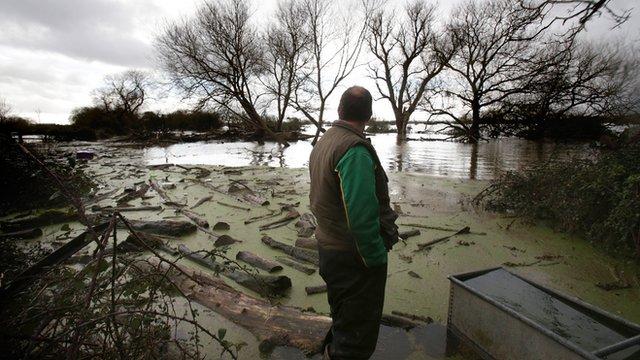 Flooding damage on the Somerset levels