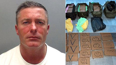 Richard Brookhouse pictured alongside drugs seized in the police investigation