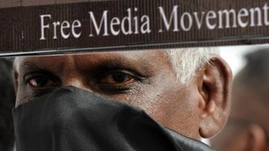An activist from the Free Media Movement, Sri Lanka's media watchdog