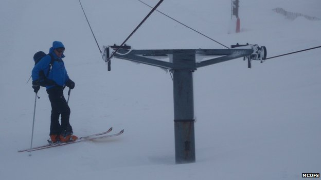 Ski tows almost buried at the Glenshee Ski Resort