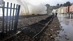 Damage to the track at Dawlish, Devon
