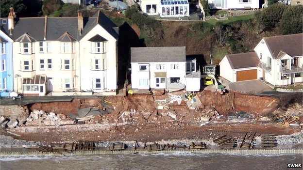 The damaged section of railway at Dawlish