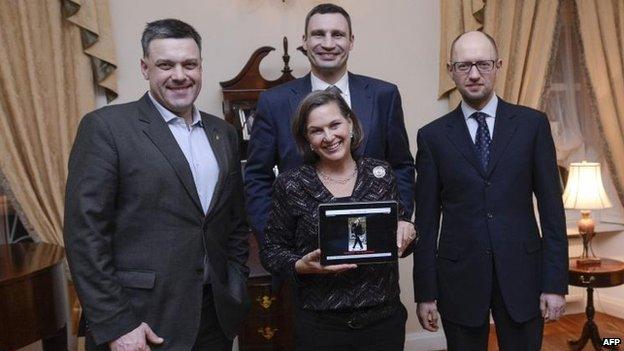 Victoria Nuland with (L-R) Oleh Tyahnybok, Vitaly Klitschko and Arseniy Yatseniuk, 6 Feb