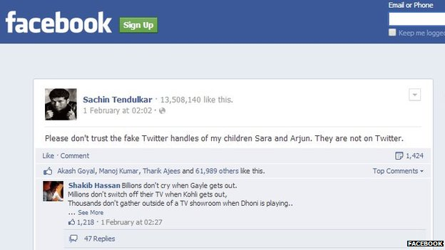 Screenshot of Sachin Tendulkar's Facebook page
