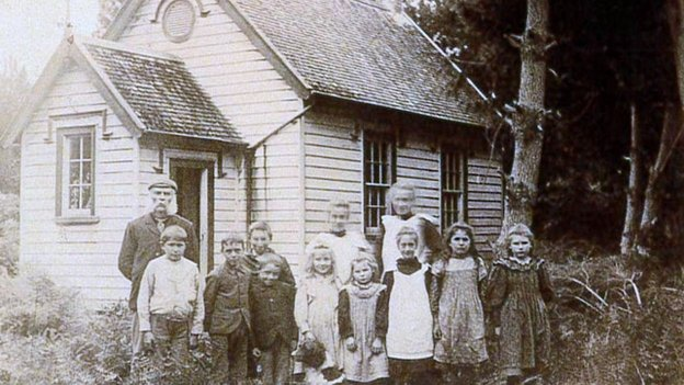 This photograph of Katikati's first school was taken in 1900