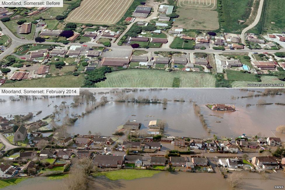 Moorland, Somerset, in the floods