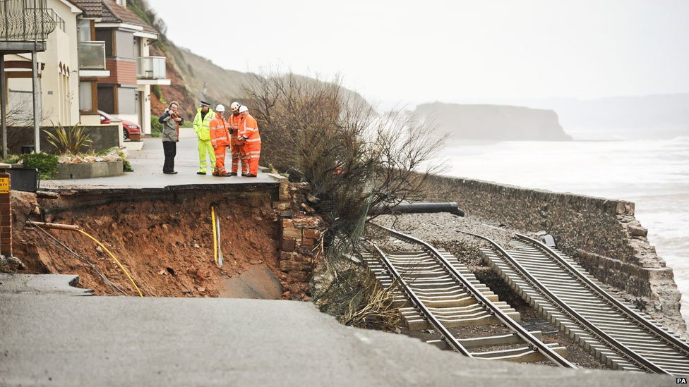 Dawlish, Devon, in the storms