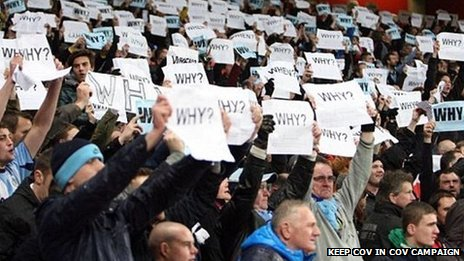 Coventry fans protest at Notts County