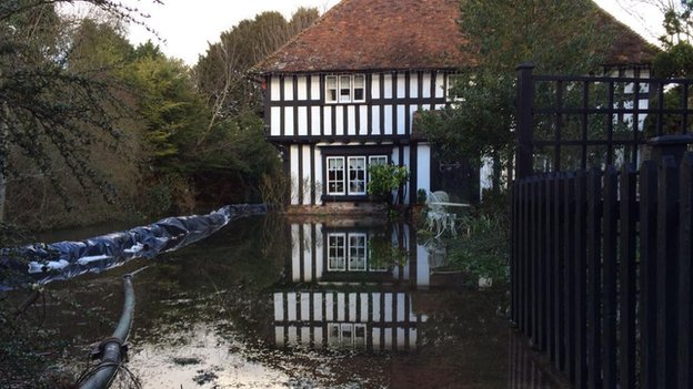 Flooded home in Patrixbourne