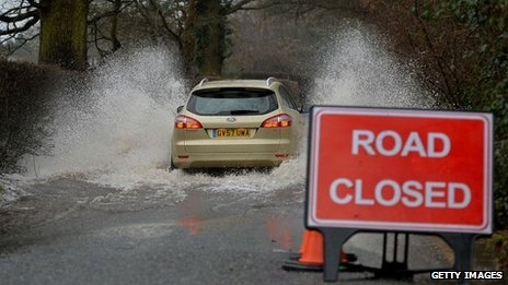 Flooded road in Hildenborough
