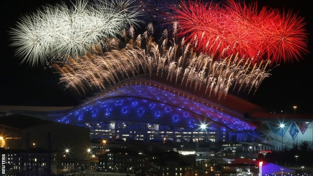 Fireworks light up the Sochi sky