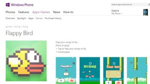 Flappy Bird Windows Phone page
