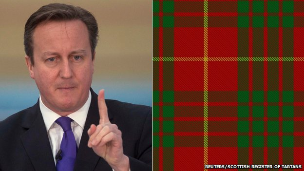 David Cameron and the Cameron Clan tartan