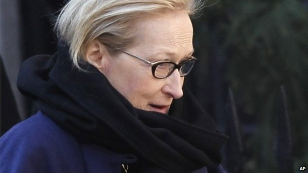 Actress Meryl Streep arrives at the Church of St. Ignatius Loyola for the private funeral of actor Philip Seymour Hoffman 7 February 2014