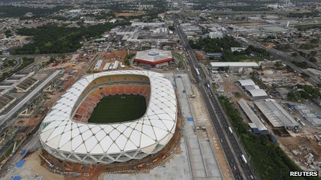 Manaus football stadium, 20 Jan 14