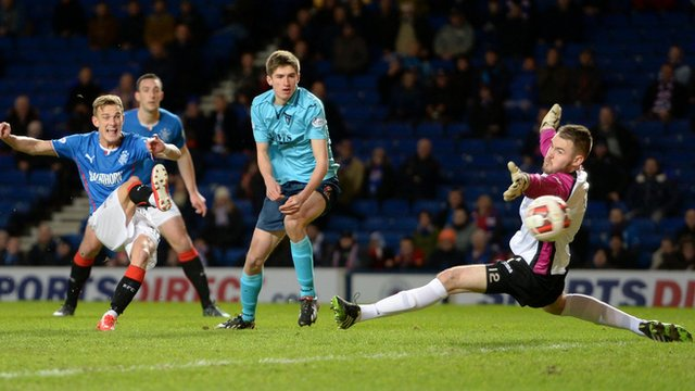 Dean Shiels scores for Rangers against Dunfermline