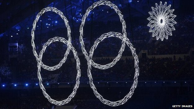 One of the Olympic rings malfunctions during the opening ceremonies of the 2014 Winter Games in Sochi on 7 February, 2014.