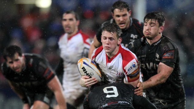 Action from Ulster's 10-7 win over the Ospreys at Ravenhill