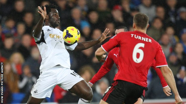 Wilfried Bony in action against Cardiff