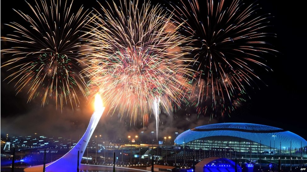 The firework display which closed the opening ceremony of the Sochi Winter Olympics.