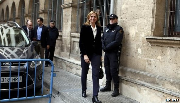 Princess Cristina, daughter of King Juan Carlos, arrives at the court