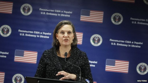 US Assistant Secretary of State Victoria Nuland addresses a news conference at the US embassy in Kiev on Friday