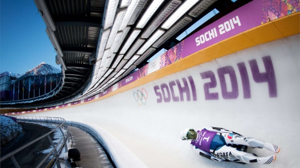 South Korea's Park Jinyong and Cho Jung Myung during a Luge Doubles training session at the Sanki Sliding Centre