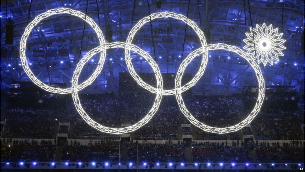Four of the Olympic rings with the fifth ring not showing correctly