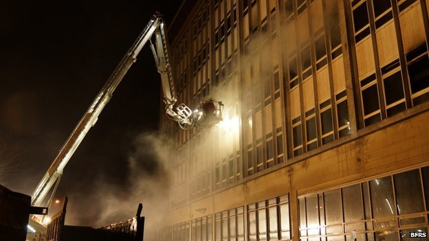 Firefighters tackling the blaze at the old town hall in Bedford