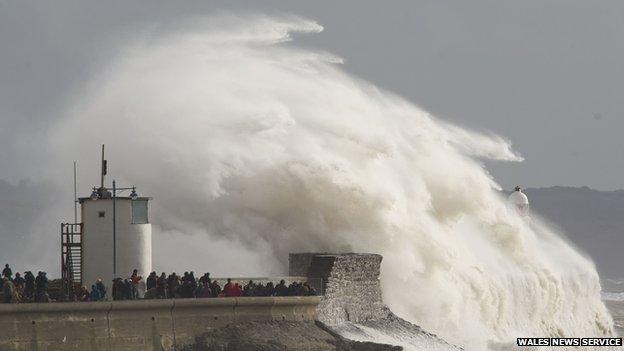 Stormy seas at Porthcawl on 8 February