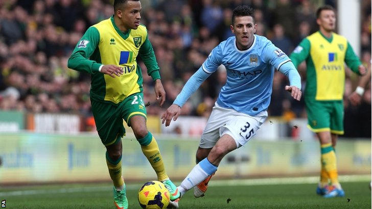 Norwich City's Martin Olsson (left) and Manchester City's Stevan Jovetic