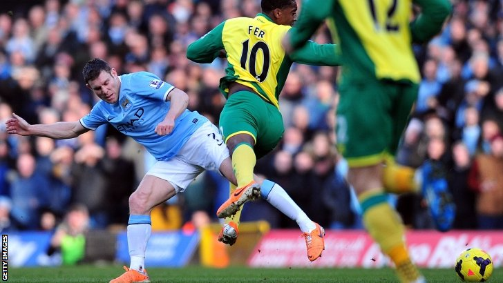 Manchester City midfielder James Milner (left) tangles with Norwich City's Leroy Fer