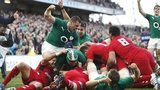 Ireland celebrate Chris Henry's first-half try