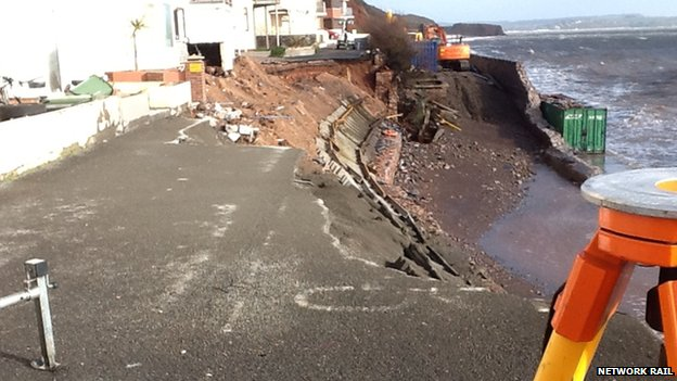 Concrete sprayed on cliffs in Dawlish on 8 February 2014