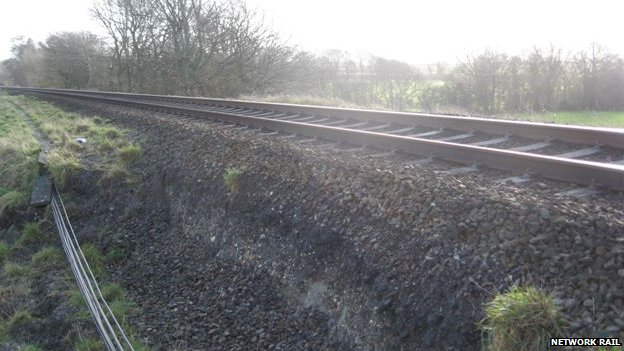 Landslip by railway track at Crewkerne, Somerset