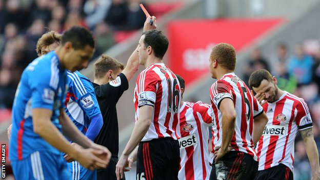 Sunderland defender Wes Brown is sent off for the third time this season.