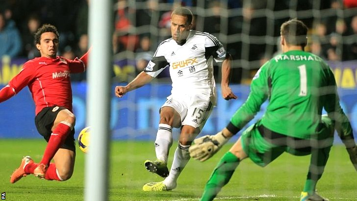 Wayne Routledge scores for Swansea against Cardiff