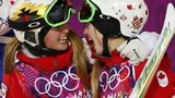 Chloe Dufour-Lapointe (L) of Canada congratulates her sister, winner Justine Dufour-Lapointe