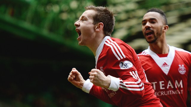Peter Pawlett celebrates scoring the winner for Aberdeen