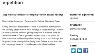 A screen-grab showing the e-petition on holiday prices
