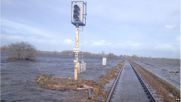 A flooded train track