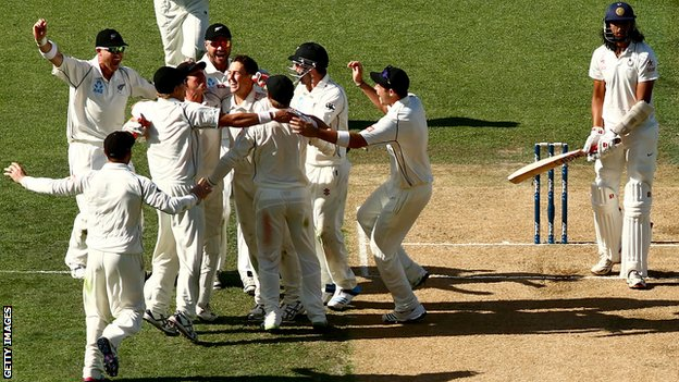 New Zealand celebrate after Trent Boult dismisses India's Ishant Sharma to claim the First Test at Eden Park.