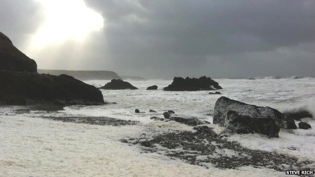 Stormy seas at Marloes, Pembrokeshire on Saturday