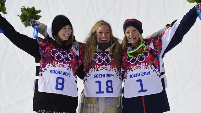 Enni Rukajarvi, Jamie Anderson and Jenny Jones