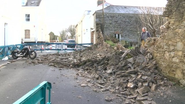 Collapsed wall in Plymouth