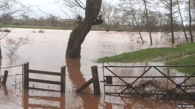 Flooded field in Abergavenny