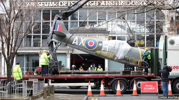 Spitfire on crane