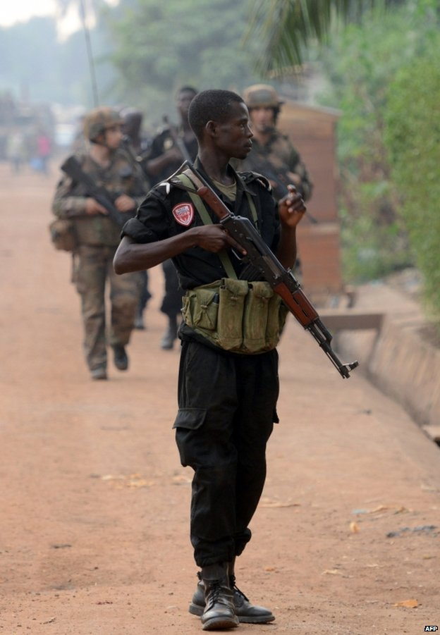 A policeman on a joint patrol with French soldiers in Bangui, 8 February