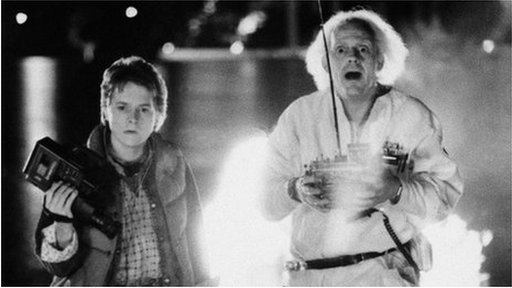 Michael J Fox as Marty McFly, left, and Christopher Lloyd as inventor Doctor Emmett Brown in Back to the Future